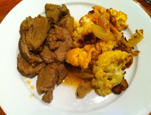 Moroccan braised lamb and roasted cauliflower