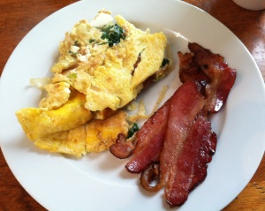 spinach onion & feta omelet with bacon